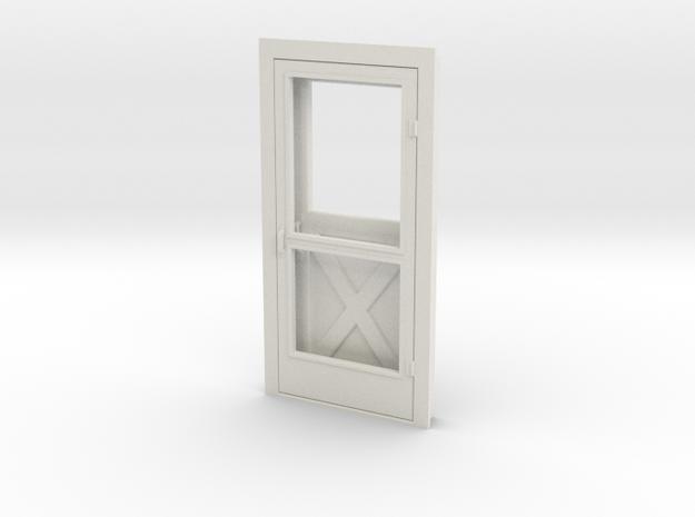 Door, Single with Screen, 39in X 82in, 1/32 Scale in White Natural Versatile Plastic