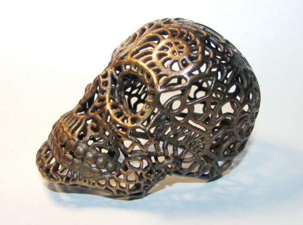 Nautilus Sugar Skull - MEDIUM in Polished Bronze Steel