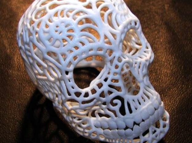 Nautilus Sugar Skull - SMALL in White Processed Versatile Plastic