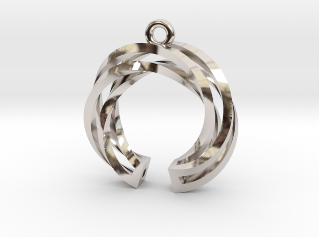 Twisted ring pendant with multiple branchs in Rhodium Plated Brass