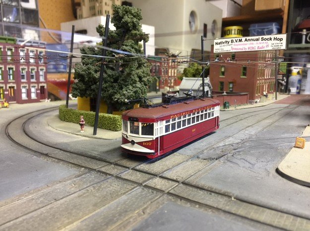 HO Pacific Electric 107 Experimental in Smooth Fine Detail Plastic