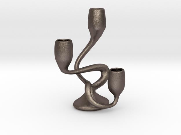 "Tripla Candelabra - Standard Dinner (7/8"") Candles in Polished Bronzed Silver Steel"