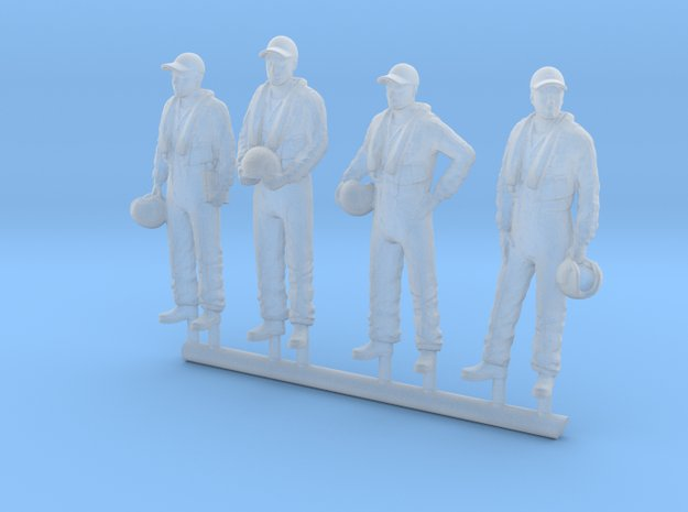 087-H0080: 4 tracker pilots scale 1:87 in Smoothest Fine Detail Plastic