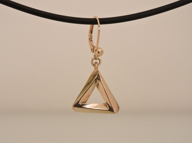 Penrose Triangle - Earrings (17mm   1x mirrored) in Polished Brass