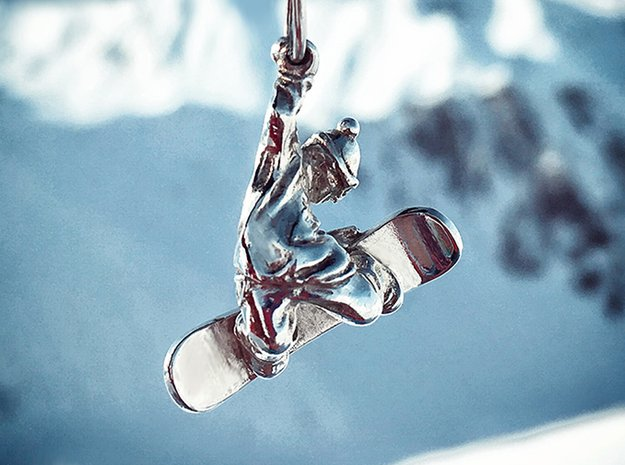 Snowboarder pendant in Polished Silver