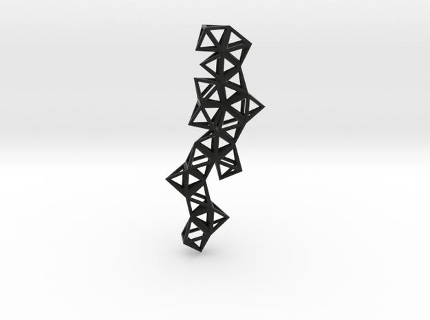Tetrahedrons pyramids drop pendant in Black Natural Versatile Plastic