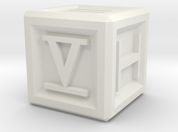 Roman Numeral D6 in White Natural Versatile Plastic