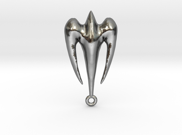 Falcon in dive Amulet in Polished Silver