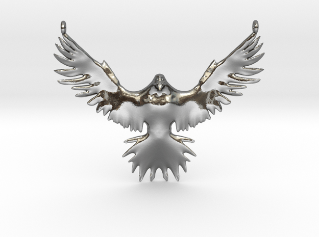 Falcon Amulet in Polished Silver
