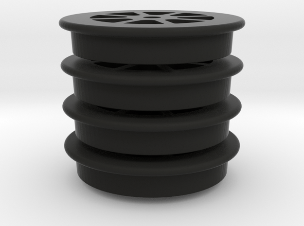 "2'6"" Bogie Wheels in Black Natural Versatile Plastic"