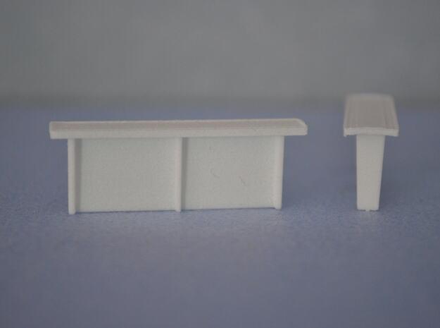 Betonnen abri bushalte schaal N Lang model in White Natural Versatile Plastic