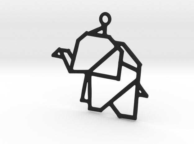 Origami Elephants Pendant in Black Natural Versatile Plastic
