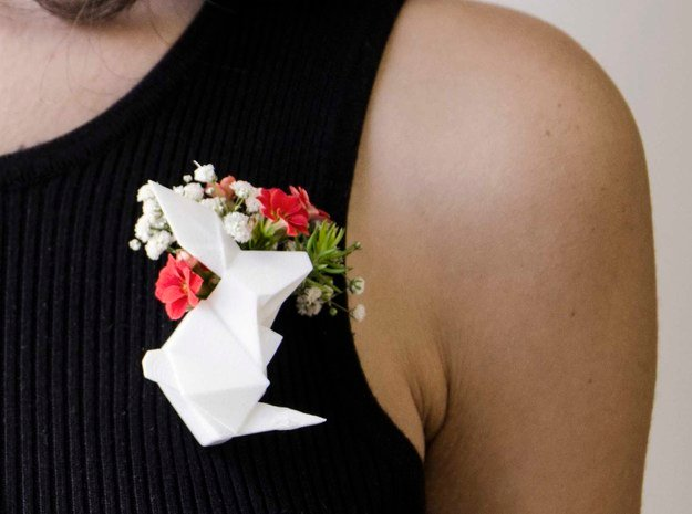 Flower Pot Pendant in White Natural Versatile Plastic