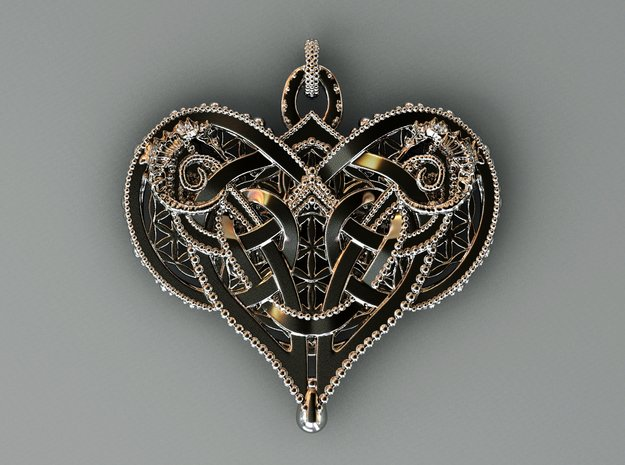 Interlocking Knot Heart Pendant in Polished Silver (Interlocking Parts)