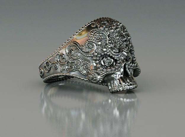 Filigree Skull Ring in Polished Silver: 8 / 56.75
