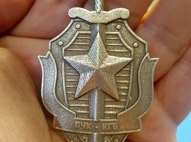 KGB Pendant in Polished Bronzed Silver Steel