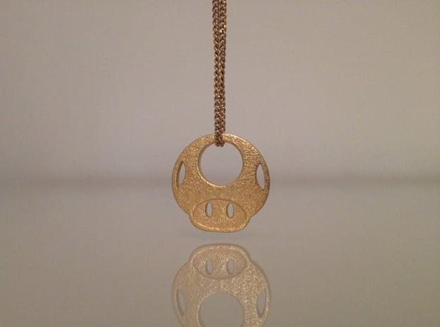 Mario Mushroom in Polished Gold Steel