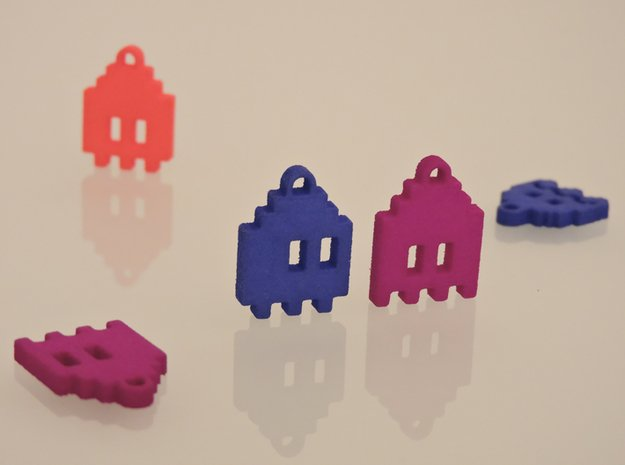Pac Man Ghost 8-bit Earring 1 (looks down   moving in Red Processed Versatile Plastic