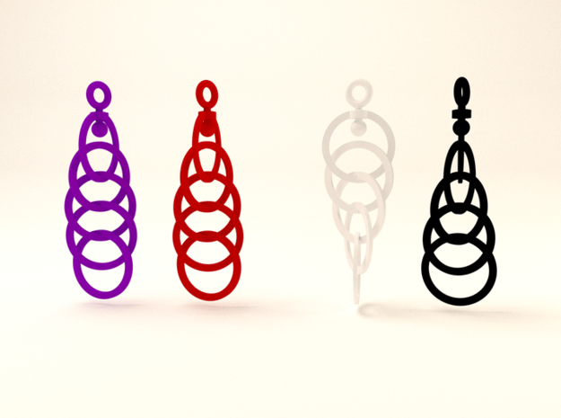 Ring Earrings (rotating) in White Processed Versatile Plastic