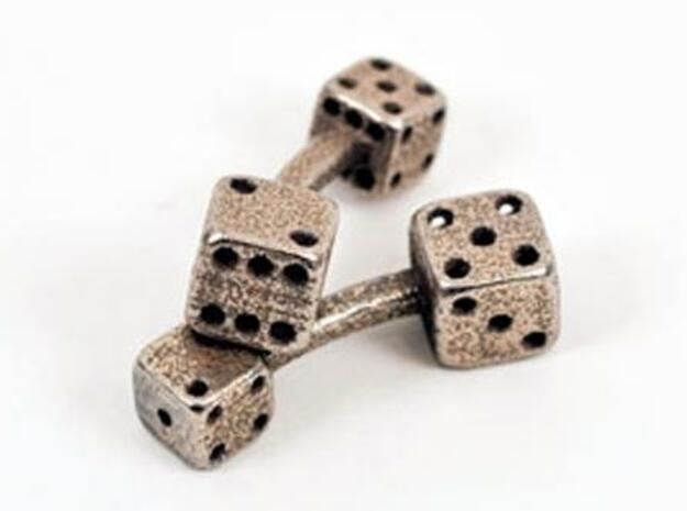 Dice Cufflinks in Polished Bronzed Silver Steel