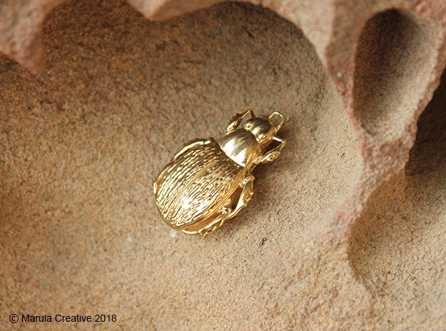 Green Carab Beetle pendant in Natural Brass