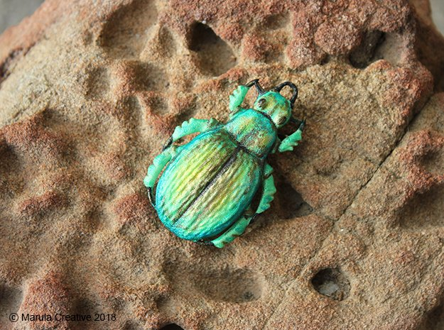 Green Carab Beetle ornament or pendant in White Processed Versatile Plastic