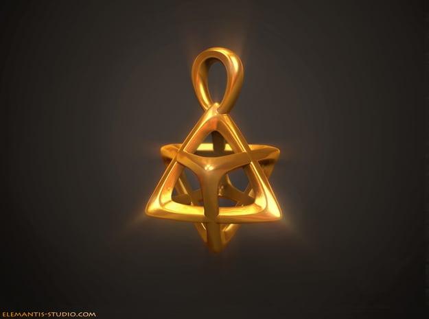 Star Tetrahedron (Merkaba) Pendant in Natural Brass