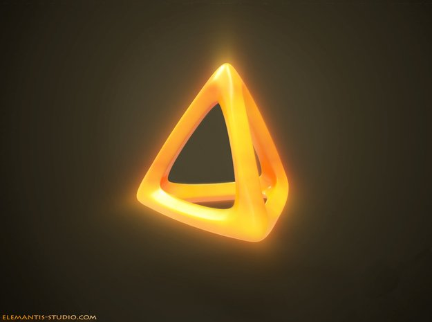 Tetrahedron Platonic Solid in Yellow Processed Versatile Plastic