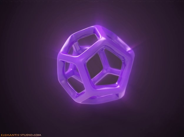 Dodecahedron Platonic Solid  in Purple Processed Versatile Plastic