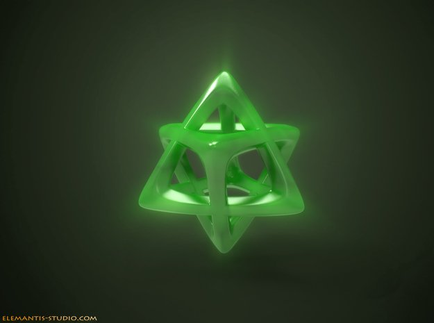 Star Tetrahedron (Merkaba)  in Green Processed Versatile Plastic
