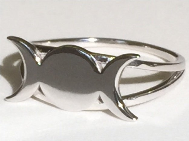 Triple Moon Ring in Rhodium Plated Brass: 6.5 / 52.75
