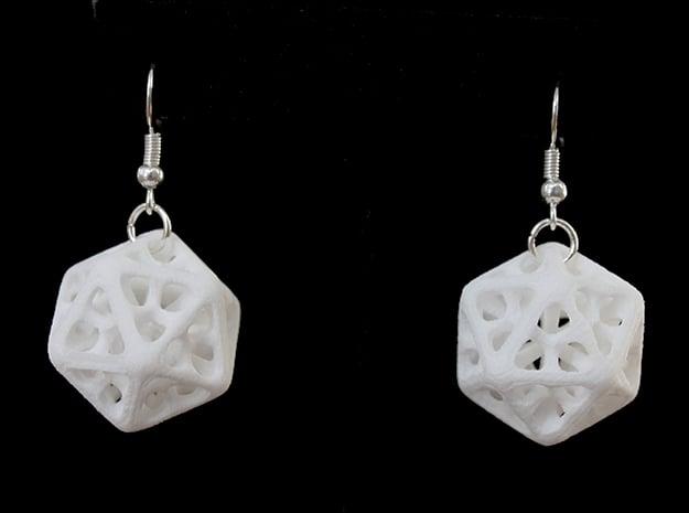 Icosahedron Earrings in White Processed Versatile Plastic