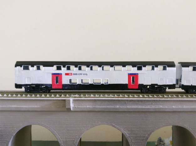 N08 - SBB Twindexx 2nd Class Trailer - N Scale in Smooth Fine Detail Plastic