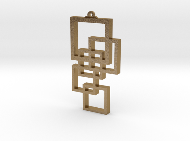 Squares Pendant in Polished Gold Steel