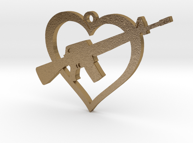 I Love my AR-15 Pendant in Polished Gold Steel