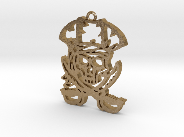 Pirate Pendant in Polished Gold Steel