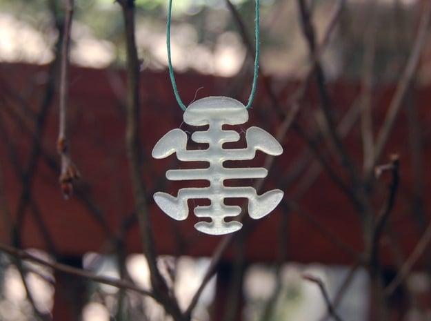Turtle Necklace Pendant / Longevity Symble in White Natural Versatile Plastic
