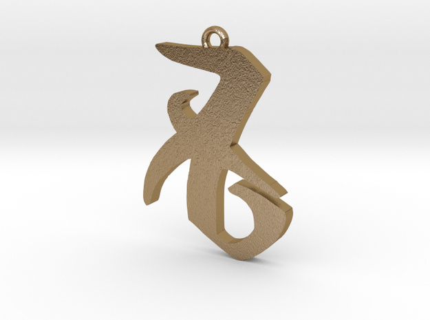 Shadowhunters love pendant in Polished Gold Steel