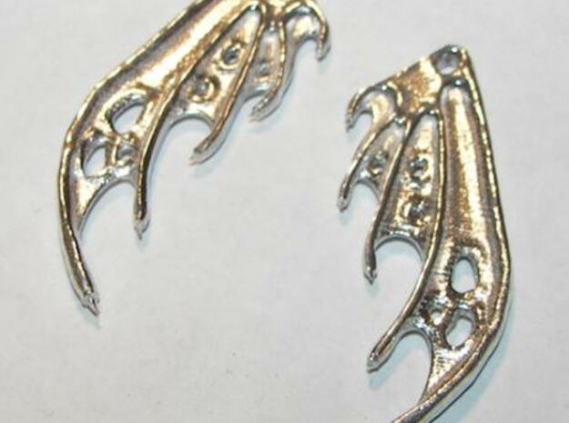 Dragon Wing Earrings in Polished Silver