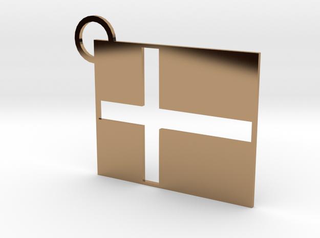 Denmark Flag Keychain in Polished Brass
