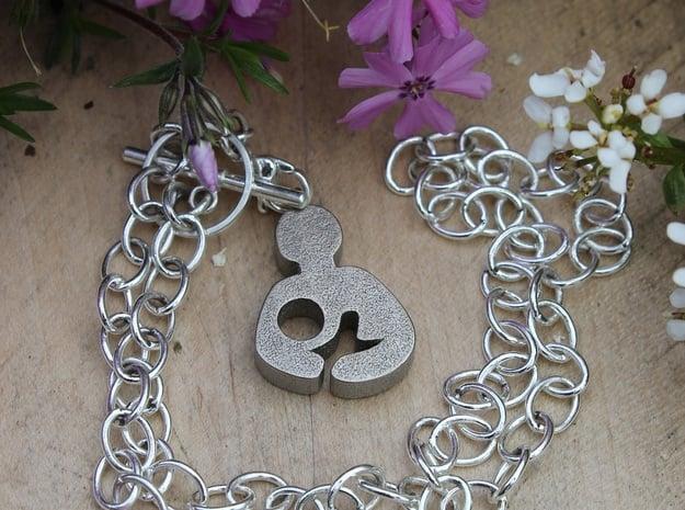 Breastfeeding Pendant in Polished Nickel Steel