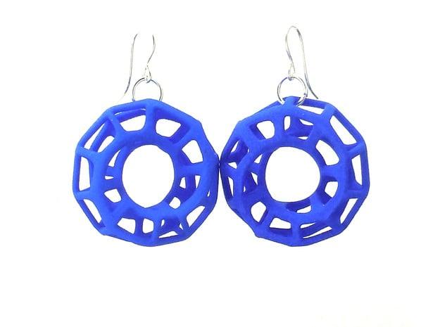 Mobius Torus - Earrings in Nylon Plastic in Blue Processed Versatile Plastic