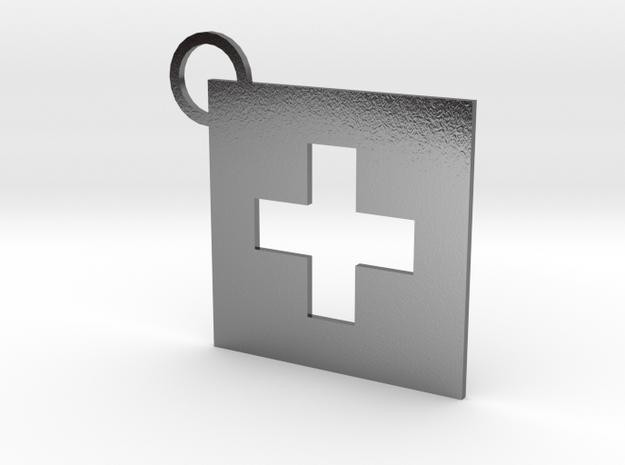 Switzerland Flag Keychain in Polished Silver