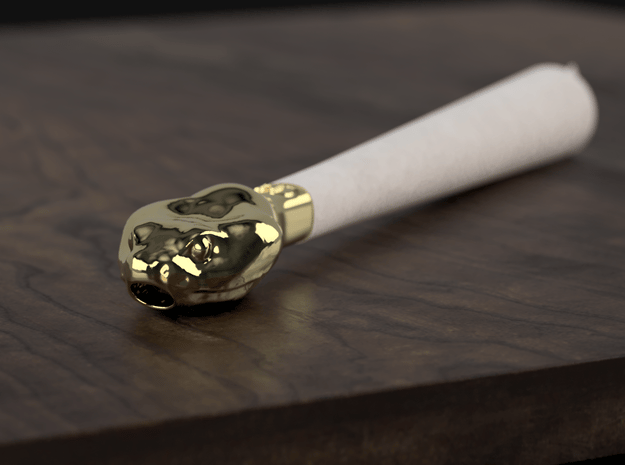 Serpent Head - Joint / Blunt Filter Tip  in Polished Brass