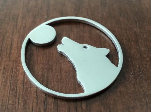 Wolf Full Moon Howler in Polished Silver