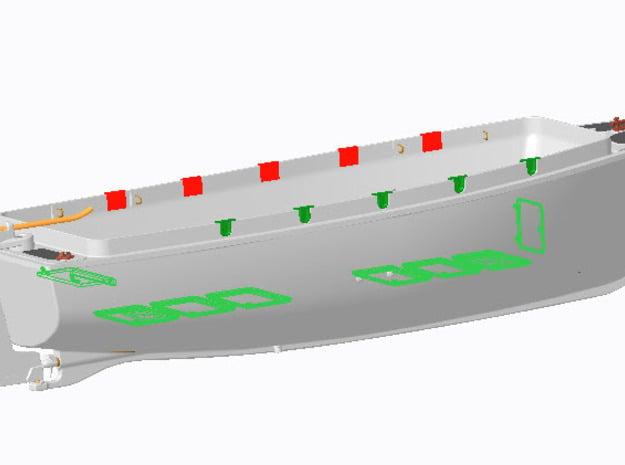 Bodenplatten und Sitzklappen für Kutter KIIK 1:40 in Smooth Fine Detail Plastic