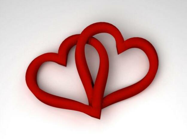 Interlocked Mobius Hearts in White Natural Versatile Plastic