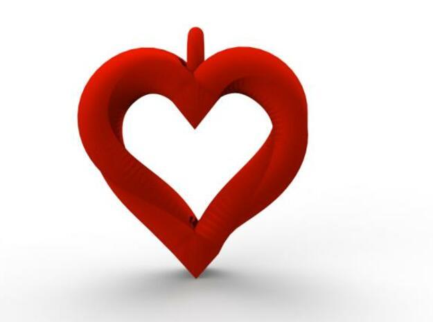 Valentines Mobius Heart Pendant With Hoop in White Natural Versatile Plastic