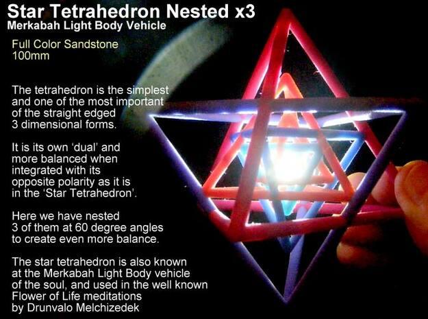 Sacred Geometry: 3 Merkabah StarTetrahedron Nest in Full Color Sandstone