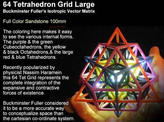 Sacred Geometry: IVM 64 Tetrahedron Grid in Full Color Sandstone